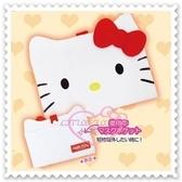 ♥小花花日本精品♥Hello Kitty 絨毛口罩收納包附鏡子面紙套夾層化妝包白色日本限定 67819102