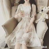沙灘裙 2019夏裝新款甜美小清新荷葉邊系帶碎花雪紡連身裙 YN189『易購3c館』