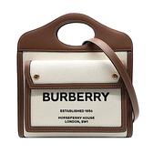【台中米蘭站】全新品 BURBERRY Pocket 帆布手提/斜背口袋包-小(8031746-咖)