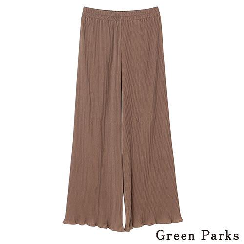 「Hot item」木耳下擺褶皺長褲 - Green Parks