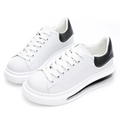 PLAYBOY 簡約質感 輕量氣墊小白鞋-白黑(Y7302)