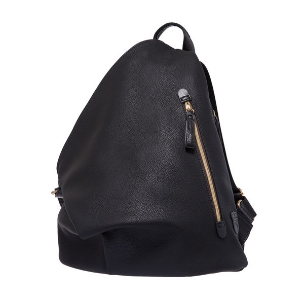【Bella Borsa】造型後背包-皮革黑 BB17C001BKL