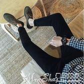 聖誕禮物牛仔褲九分牛仔褲男青少年小腳修身型韓版黑色百搭男士長褲子潮流 曼莎時尚