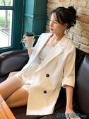 亞麻西裝外套 亞麻西裝外套女新款上衣韓版夏白色職業裝薄防曬衣小西服棉麻套裝 快速出貨
