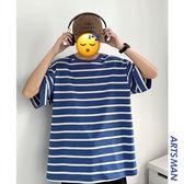 現貨 ins風潮流條紋五分袖衣服夏季寬鬆韓版帥氣短袖T恤潮 短袖T恤 T恤 潮流男裝