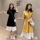 假兩件洋裝 新款韓版寬鬆拼接假兩件套裝裙收腰中長款裙顯瘦連身裙女夏 生活主義