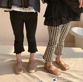 女童時尚格子九分褲