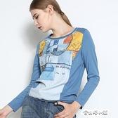 衣之莊園春裝新款長袖印花繡花寬鬆顯瘦遮肚T恤女上衣打底衫 母親節禮物