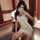 洋裝小禮服夜店酒吧性感女裝低胸V領重工亮片流蘇吊帶抹胸洋裝