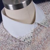 假領子-雪紡珍珠水鑽尖領女襯衫領片2色73va31[巴黎精品]