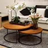 美式復古鐵藝實木茶幾桌幾何時尚創意大小戶型圓形茶幾茶桌 遇見生活