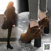 秋冬新款高跟鞋粗跟圓頭短靴蝴蝶結磨砂時尚顯瘦馬丁靴及裸靴 玫瑰女孩