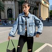 長袖牛仔外套 大碼上衣長袖常規寬松通勤單件純色韓版女裝牛仔多袋上衣女外套 3F132 胖丫