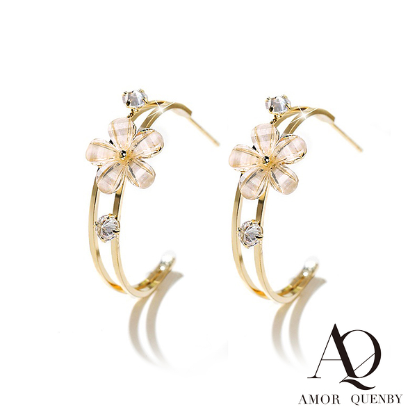 AQ 925純銀 優雅花朵香檳金耳環/耳針(AMOR Quenby)