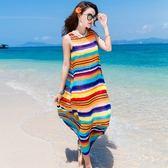 新品雪紡海邊度假沙灘裙波西米亞長裙寬鬆大尺碼七彩條紋連身裙洋裝 【限時八五折】