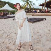波西米亞長裙女白色沙灘裙海邊度假海灘裙抹胸一字肩超仙連身裙   居家物語