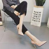歐美秋鞋10cm裸色尖頭高跟鞋女細跟中跟淺口百搭女單鞋職業工作鞋【居享優品】