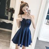 新款無袖牛仔裙女吊帶短裙心機連身裙背帶女裝韓版顯瘦     初語生活