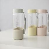 韓版清新文藝玻璃杯創意潮流水瓶簡約男女學生韓國便攜家用水杯子