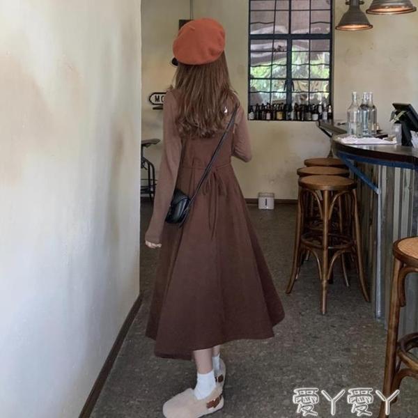 背帶裙冬裝新款潮收腰顯瘦氣質燈芯絨裙子中長款背帶裙連身裙女秋冬 新品