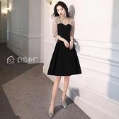 小禮服黑色晚禮服女宴會氣質平時可穿高端名媛小個子秋冬法式年會生日裙 快速出貨