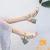 涼鞋女夏韓版百搭中跟粗跟一字扣帶羅馬鞋【慢客生活】