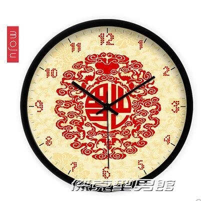 【快出】福到創意藝術中式現代 喜慶福氣客廳 鐘錶時鐘掛鐘靜音石英鐘YYJ