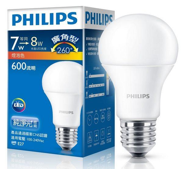 PHILIPS 飛利浦 廣角LED燈泡 7W E27 600Lm 全電壓 100V~240V