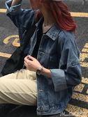 牛仔外套長袖原宿寬鬆牛仔外套女秋季2018新款韓版短款學生夾克牛仔衣 曼莎時尚