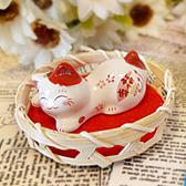 【貓粉選物】臉紅紅少女貓療癒小擺飾筷架紙鎮筆枕幸福紅色招財貓高2CM 桌上開運擺飾