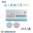 華淨 成人醫療口罩 雙鋼印 50片 台灣...
