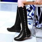 【35-43全尺碼】長靴.時尚單排鉚釘側拉鍊低跟長靴.白鳥麗子
