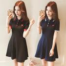 VK精品服飾 韓系小紅心愛心刺繡T恤polo衫寬鬆短袖洋裝