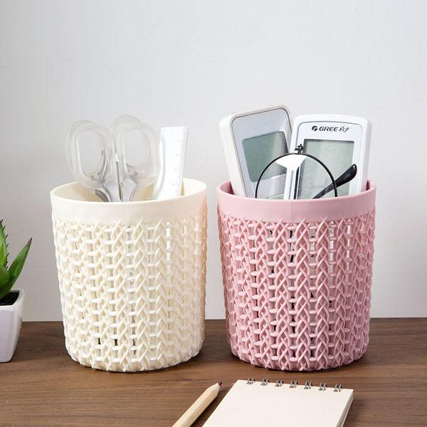 鏤空多功能小筆筒塑料辦公收納筒 創意學生簡約桌面收納盒─預購CH5624