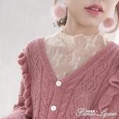 新款蕾絲打底衫女長袖秋冬季高領網紗打底衫鏤空超仙內搭上衣 范思蓮恩