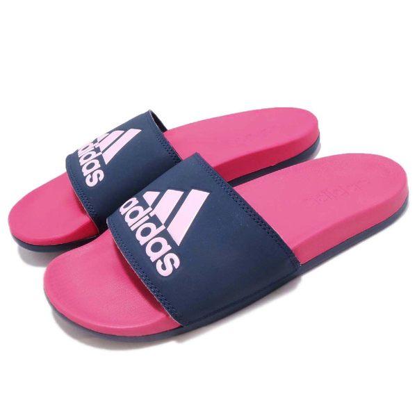adidas 拖鞋 Adilette Comfort Plus Logo Slides 藍 粉紅 基本款 舒適好穿 基本款 女鞋【PUMP306】 CG3428