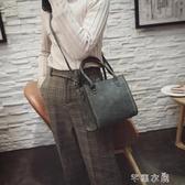 手提包 女包百搭手提包冬季時尚新款韓版車縫線純色單肩包包斜跨包潮 芊惠衣屋