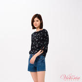 Victoria 袖口綁帶寬鬆落肩七分袖T恤上衣-女-黑色-V85412