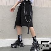 工裝短褲女夏寬鬆直筒重工口袋鏈條高腰五分褲【左岸男裝】