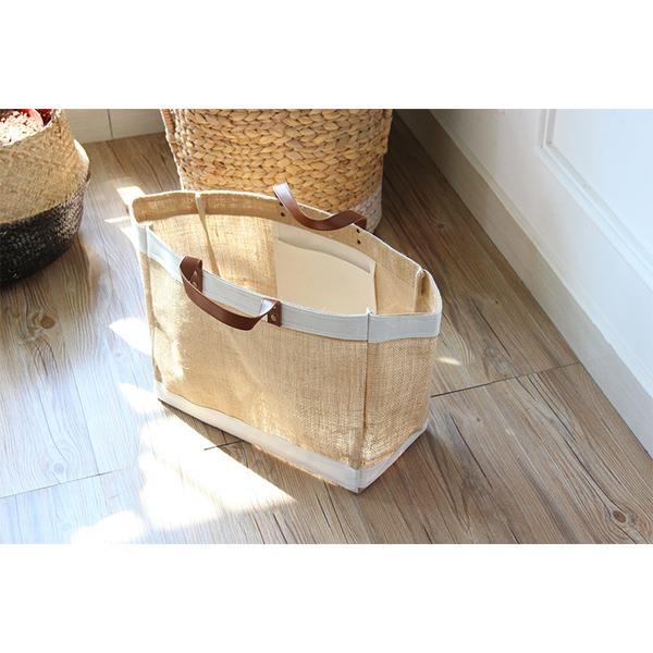 Zakka黃麻布藝購物袋防水大小號簡約手提袋宜家袋