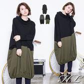 .GAG GLE超大尺碼.【16061003】簡單色調拼接鬆高領飛鼠袖洋裝 3色