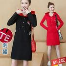 三釦紅連帽抽繩洋裝(2色)M~3XL【472448W】【現+預】☆流行前線☆