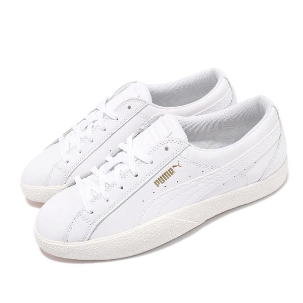 Puma 休閒鞋 Love Wns 白 金標 復古奶油底 小白鞋 基本款 女鞋【ACS】 37210401