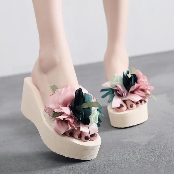 夏季涼拖鞋女外穿高跟一字拖時尚坡跟厚底海邊度假沙灘鞋百搭韓版