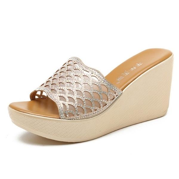 【Sp house】華麗貴氣水鑽縷空魚嘴坡跟厚底拖鞋(2色各2款跟高可選)