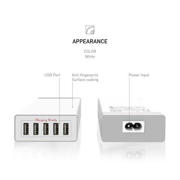 Channel 5孔 USB充電器 內建智能充電識別晶片 白