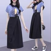 套裝裙兩件套S-XL實拍套裝洋氣减齡裙子小個子顯高夏季顯瘦休閒兩件套H430.801胖胖唯依