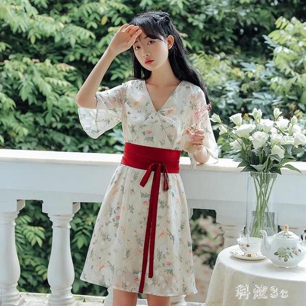民國風復古女裝漢服改良雪紡連身裙夏天漢元素中國風小個子碎花裙 FX4162 【科炫3c】