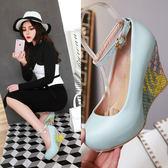 Dingle丁果大尺碼ღ明星款粉彩甜美一字扣楔形鞋3色