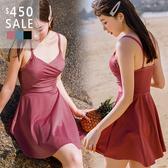 SISI【S9009】春夏海灘游泳溫泉網紅款性感修身顯瘦遮肚連身吊帶細肩帶集中型裙式泳衣